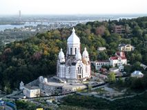 L'Ukraine, Kiev - 17 septembre 2017 : Bâtiment non fini du temple de la paix, de l'amour et de l'unité des chrétiens en gros plan Photos stock