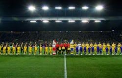 l'Ukraine - la Suède teams le match de football Images libres de droits