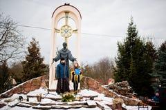 l'ukraine LVIV - 14 JANVIER 2016 : Scène de nativité de Noël Image libre de droits