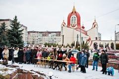 l'ukraine LVIV - 14 JANVIER 2016 : Scène de nativité de Noël Photo libre de droits