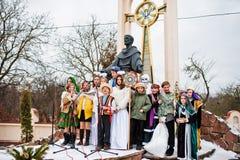 l'ukraine LVIV - 14 JANVIER 2016 : Scène de nativité de Noël Photographie stock libre de droits