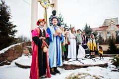 l'ukraine LVIV - 14 JANVIER 2016 : Scène de nativité de Noël Photo stock