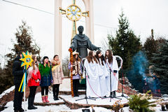 l'ukraine LVIV - 14 JANVIER 2016 : Scène de nativité de Noël Photographie stock