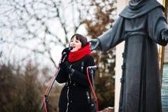 l'ukraine LVIV - 14 JANVIER 2016 : Scène de nativité de Noël Image stock