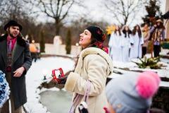 l'ukraine LVIV - 14 JANVIER 2016 : Scène de nativité de Noël Photos libres de droits