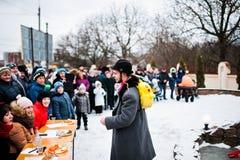 l'ukraine LVIV - 14 JANVIER 2016 : Scène de nativité de Noël Images libres de droits