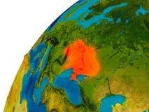 L'Ukraine sur le globe Image stock