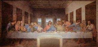 L'ultima cena da Leonardo da Vinci nel refettorio del convento del delle Grazie, Milano di Santa Maria in bianco e nero Immagini Stock