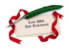 L'ultimo carte del testamento e e penna di spoletta Fotografia Stock