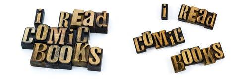 L'umore dello scritto tipografico ha letto i libri di fumetti Fotografia Stock Libera da Diritti