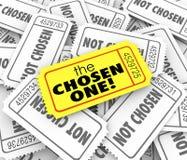 L'un biglietto dorato scelto Lucky Winner Selected Game Competit Fotografia Stock