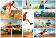 L'un giocatore di salto, uomo adatto del caucasian, giocante a tennis sulla corte di terra con gli spettatori Fotografia Stock Libera da Diritti