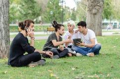 L'un giovane parla sul telefono cellulare Un gruppo sinceramente di lavoro nei precedenti con il computer portatile immagine stock libera da diritti