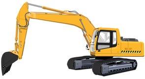 L'un grande escavatore giallo Fotografia Stock Libera da Diritti