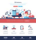 Öl- und Gasindustriewebsite-Titelfahne mit webdesign Elementen Stockbilder