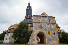 L'UNESCO Allemagne de vue d'entrée de porte avant de tour de château de Weimar photographie stock