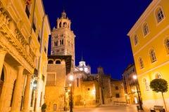 L'UNESCO de Santa Maria de cathédrale d'Aragon Teruel et hôtel de ville images libres de droits