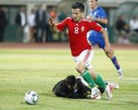 L'Ungheria contro la partita di football americano dell'Islanda Fotografia Stock Libera da Diritti