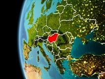 L'Ungheria da spazio nella sera Fotografie Stock Libere da Diritti