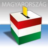 L'Ungheria, elezioni politiche, urna con la bandiera Fotografia Stock