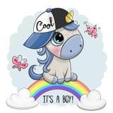 L'unicorno del fumetto è sull'arcobaleno illustrazione di stock