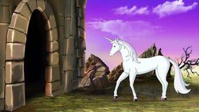L'unicorno di fiaba va al castello illustrazione vettoriale
