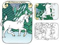 L'unicorno nell'inverno Fotografie Stock Libere da Diritti