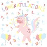 L'unicorno si congratula - l'illustrazione di vettore, ENV illustrazione di stock