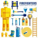 L'uniforme de sapeur-pompier et aident d'abord l'ensemble et les instruments d'équipement Sur le concept plat de fond de style Il illustration de vecteur