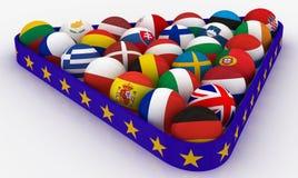 L'Union européenne sous forme de boules de billard de pyramides Photographie stock