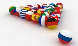 L'Union européenne sous forme de boules de billard de pyramides dans le visage Russie Photo stock