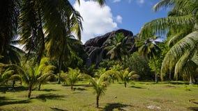 L'Unionlandgoed, La Digue, de eilanden van Seychellen Stock Afbeelding