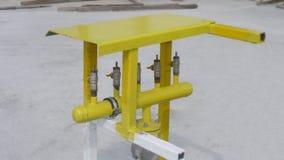L'unité de fonctionnement pour le gaz, le robinet 5 a monté sur un tube d'alimentation commun, photo stock