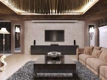 L'unité de TV dans le salon de luxe a conçu dans le style moderne illustration stock