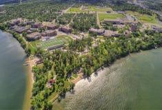 L'università di Stato di Bemidji è un istituto universitario in una città nel Minnesota centrale sulle rive di un lago con lo ste fotografia stock libera da diritti