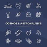 L'universo e l'astronautica allineano le icone - pianeti, spazio, linea concetto dei razzi illustrazione di stock