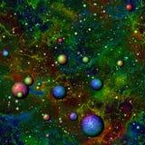 L'universo variopinto astratto, arcobaleno ha colorato il cielo stellato con i pianeti, lo spazio cosmico multicolore, fondo senz illustrazione vettoriale