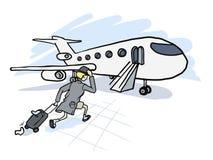 L'uomo è in ritardo per l'aereo Fotografie Stock Libere da Diritti