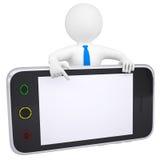 l'uomo 3d indica un dito allo smartphone dello schermo Fotografia Stock