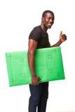L'uomo africano sorridente come uomo d'affari nero con Fotografie Stock