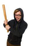 L'uomo aggressivo con la mazza da baseball isolata su bianco fotografia stock