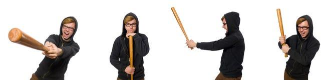 L'uomo aggressivo con la mazza da baseball isolata su bianco immagini stock