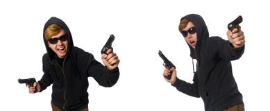 L'uomo aggressivo con la pistola isolata su bianco immagine stock