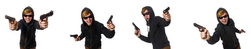 L'uomo aggressivo con la pistola isolata su bianco fotografia stock libera da diritti