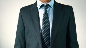 L'uomo alla moda sta portando un rivestimento Sguardo elegante corregge il rivestimento ed il legame Uomo d'affari archivi video