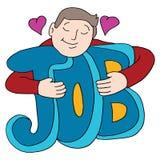 L'uomo ama il suo Job Hugging Text fotografia stock