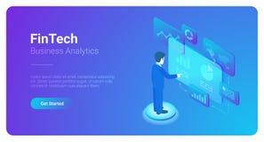 L'uomo analizza il mercato di dati dello spazio virtuale isometrico illustrazione di stock