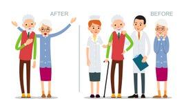L'uomo anziano è malato e ritiene cattivo Senior prima e dopo la malattia Paziente recuperato circondato da medici e dagli inferm illustrazione di stock