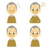 L'uomo anziano, allegro, arrabbiato, piange illustrazione vettoriale