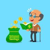 L'uomo anziano del fumetto apre un libro che ha monete dei soldi Immagine Stock